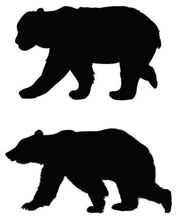 vector illustration of black bear silhouette Vettoriali