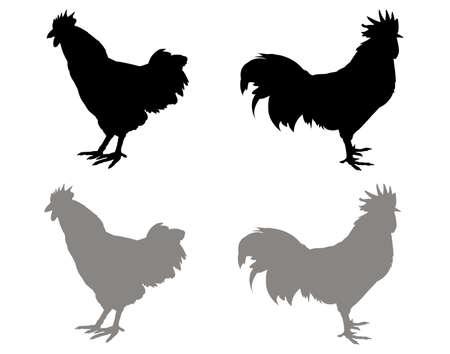 vector illustration of black rooster silhouette Vektoros illusztráció