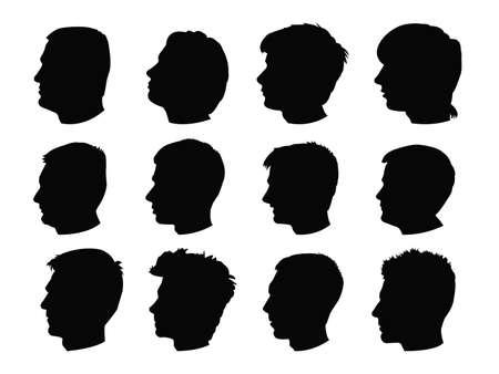 vector illustration of human people heads silhouette Ilustración de vector