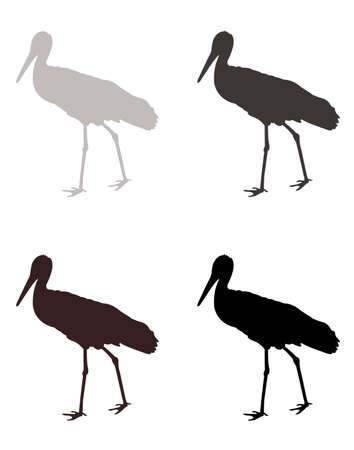vector illustration of stork silhouette  イラスト・ベクター素材