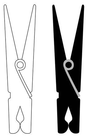 vector illustration of clothespins silhouette
