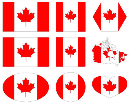 vector illustration of Canada flags and map  イラスト・ベクター素材