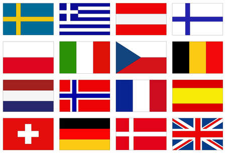 vector illustration of European countries flags 矢量图像