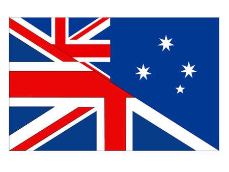vector illustration of Australia and United Kingdom flag