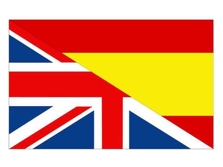 vector illustration of Spain and United Kingdom flag