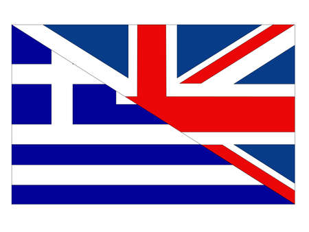 vector illustration of Greece and United Kingdom flag