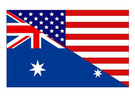 vector illustration of Australia and United States flag