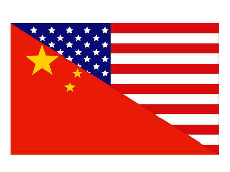 vector illustration of China and United States flag