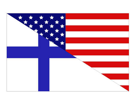 vector illustration of Finland and United States flag