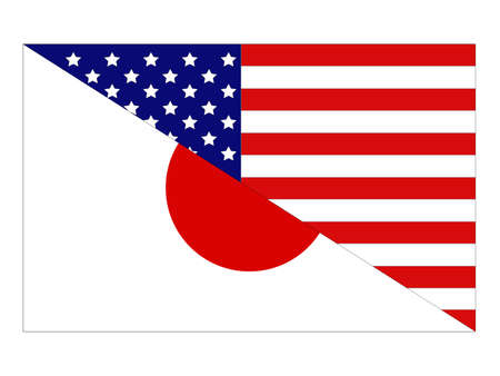 vector illustration of Japan and United States flag