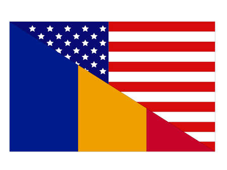 vector illustration of Romania and United States flag Ilustracja