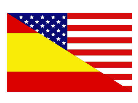 vector illustration of Spain and United States flag