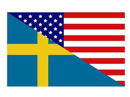 vector illustration of Sweden and United States flag