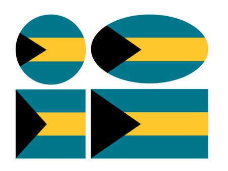 vector illustration of Bahamas flags