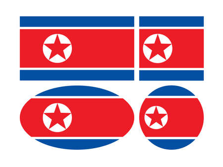 vector illustration of North Korea flags