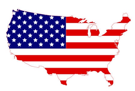 vector illustration of United States map and flag