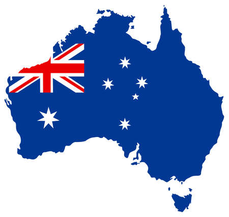 vector illustration of Australia map and flag