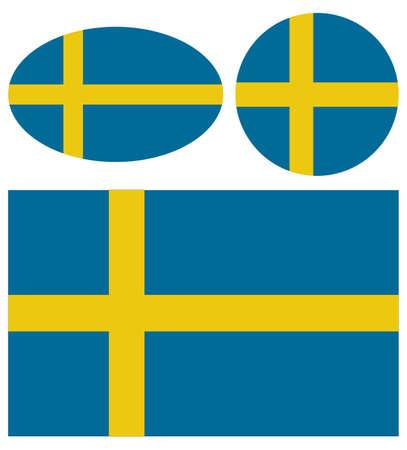 vector illustration of Sweden flags