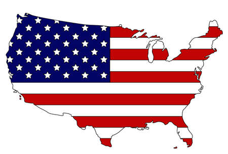 vector illustration of United States map and flag Vecteurs