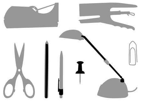 vector illustration of office tools silhouette