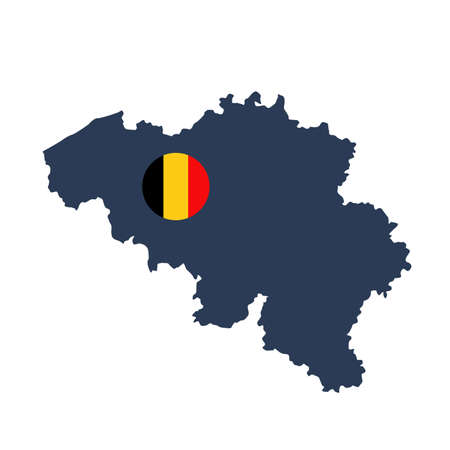 vector illustration of Belgium map and flag
