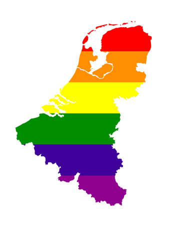 vector illustration of LGBT Benelux countries map