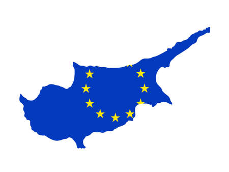 vector illustration of Cyprus map with EU flag