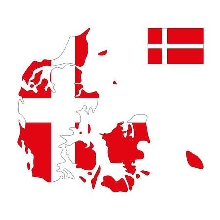 vector illustration of Denmark map and flag