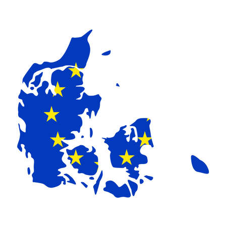vector illustration of Denmark map with EU flag Ilustrace