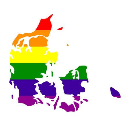 vector illustration of LGBT Denmark map