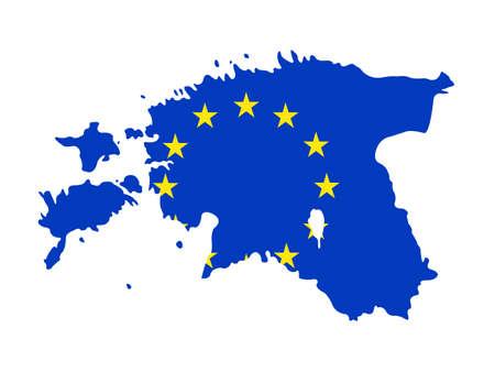 vector illustration of Estonia map with EU flag