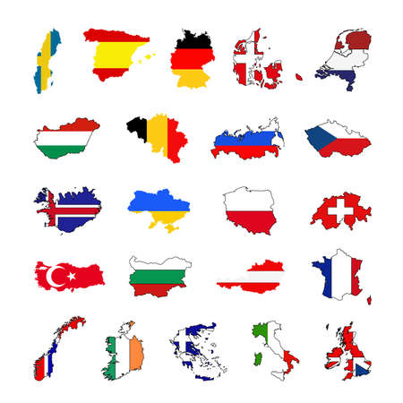 vector illustration of European countries maps and flags Stock Illustratie