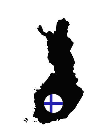 vector illustration of Finland map and flag