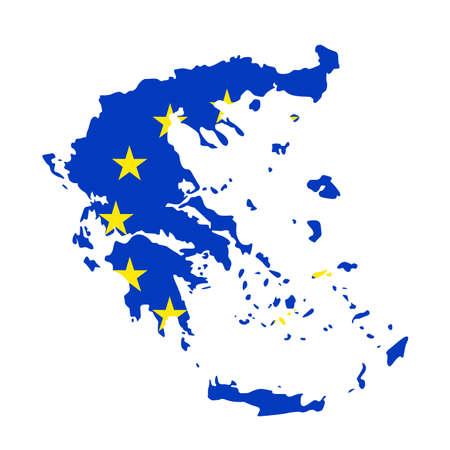 vector illustration of Greece map with EU flag Archivio Fotografico - 142843878