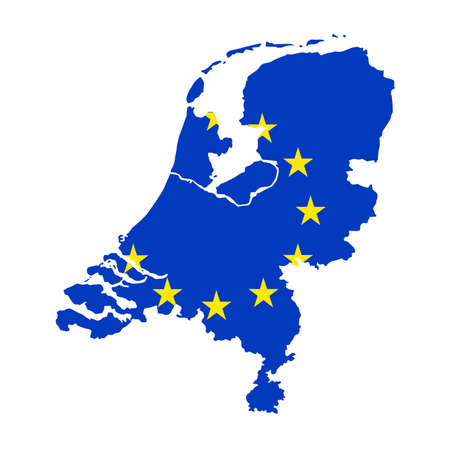vector illustration of Netherlands map with EU flag Vector Illustratie