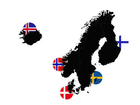 ector illustration of Nordic or Scandinavian countries maps and flags