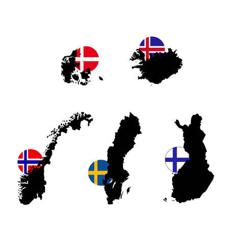 vector illustration of Nordic or Scandinavian countries maps and flags
