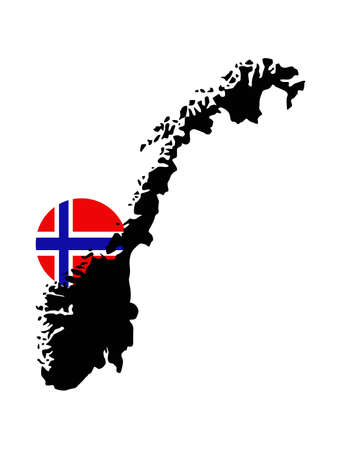 vector illustration of Norway map and flag