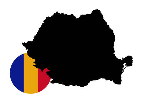 vector illustration of Romania map and flag