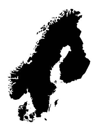 vector illustration of Scandinavian countries map