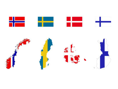 vector illustration of Scandinavian countries maps and flags