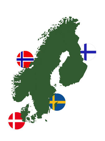 vector illustration of Scandinavian countries map and flags