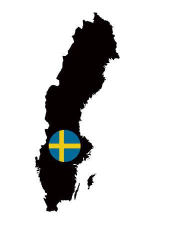 vector illustration of Sweden map and flag