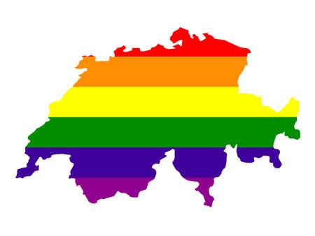 vector illustration of LGBT Switzerland map