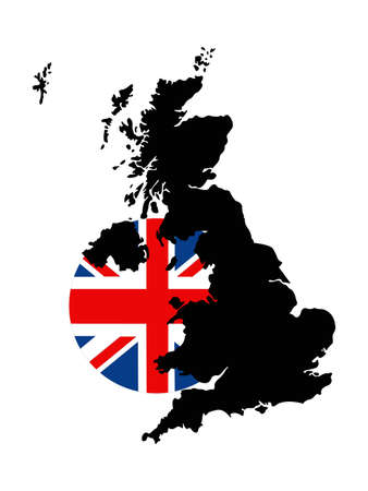 vector illustration of United Kingdom map and flag
