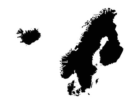vector illustration of Scandinavian countries map