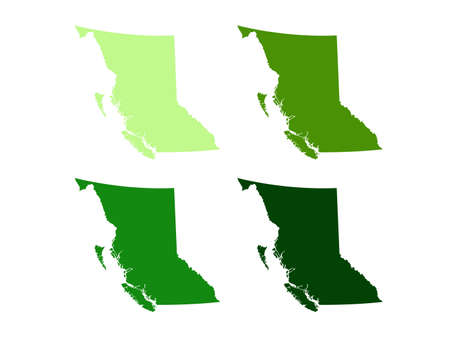 vector illustration of British Columbia map, province or territory in Canada