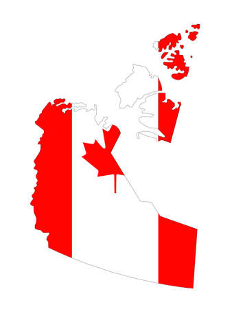 vector illustration of Northwest Territories map with Canadian flag, province or territory in Canada