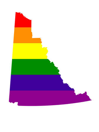 vector illustration of LGBT Yukon map, province or territory in Canada