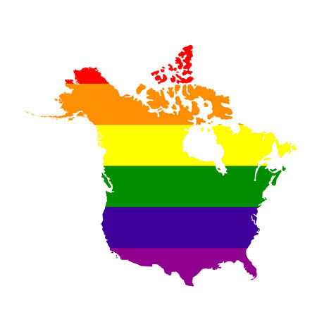 vector illustration of map of LGBT North America, USA and Canada  イラスト・ベクター素材